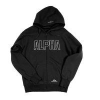Minőségi Alpha Industries 100% pamut kapucnis pulóver.Elején hímzett ALPHA  felirattal és logóval! A kapucni szélét kis Alpha logó díszíti. ded9b5c3b8